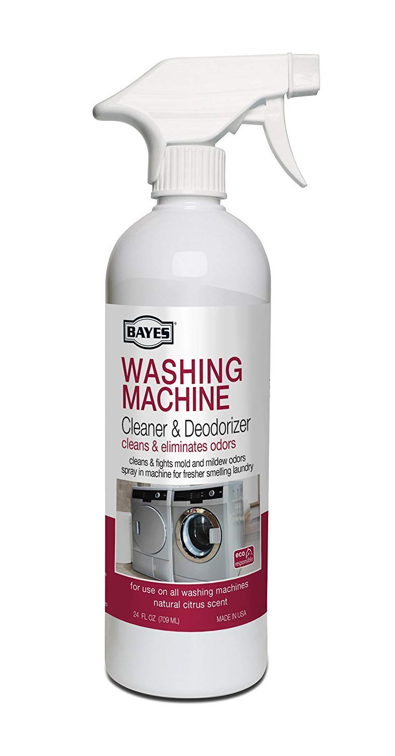 Bayes Washing Machine Cleaner & Deodorizer - with Microfiber Cloth - Cleans and Eliminates Mold and Mildew Odors for Fresh Smelling Laundry - 24 Ounces