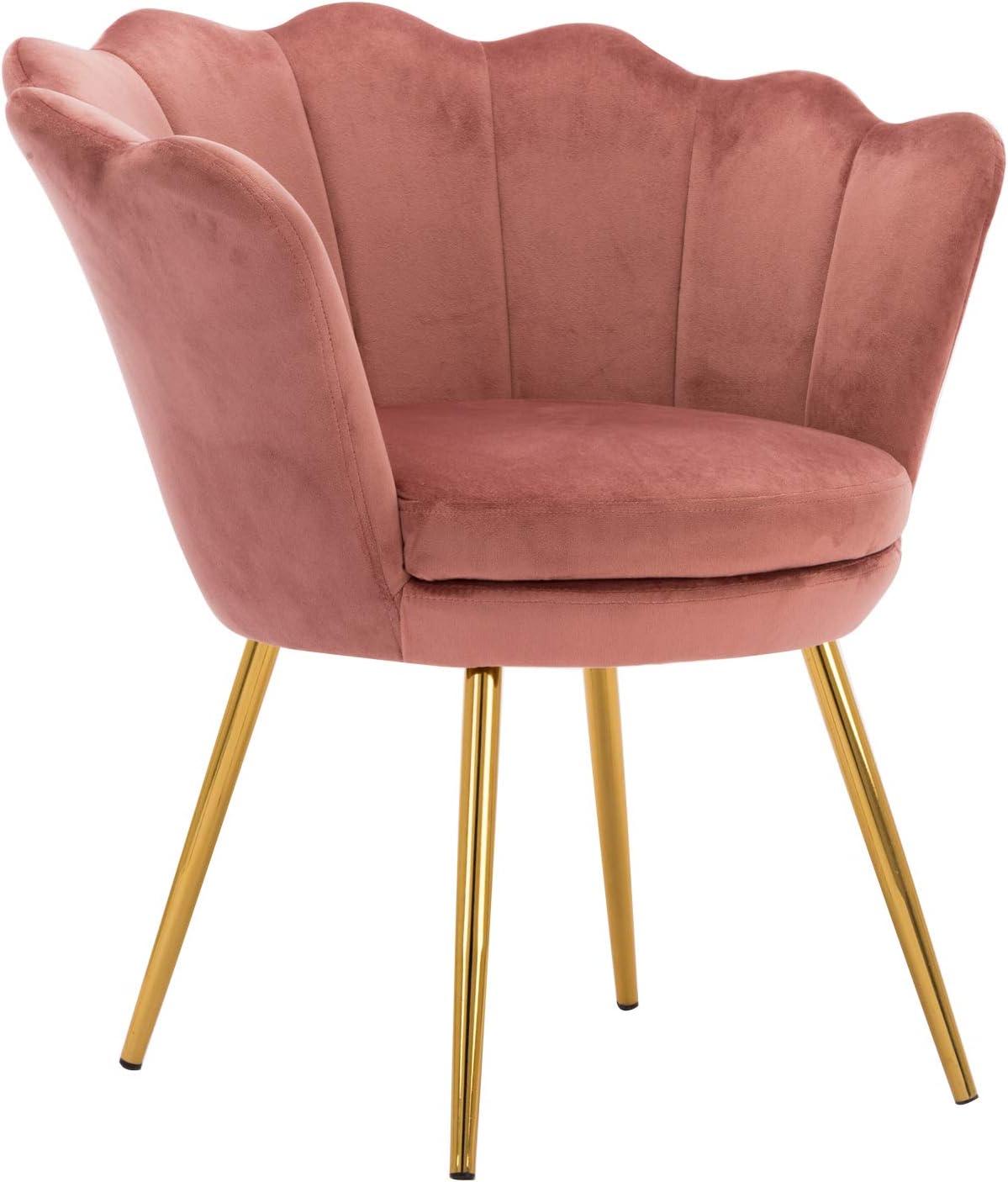 Pink Comfy Desk Chair no Wheels, Velvet Upholstered Accent Chair, Vanity Chair for Living Room, Bedroom, Dining Room, Golden Legs, Pink