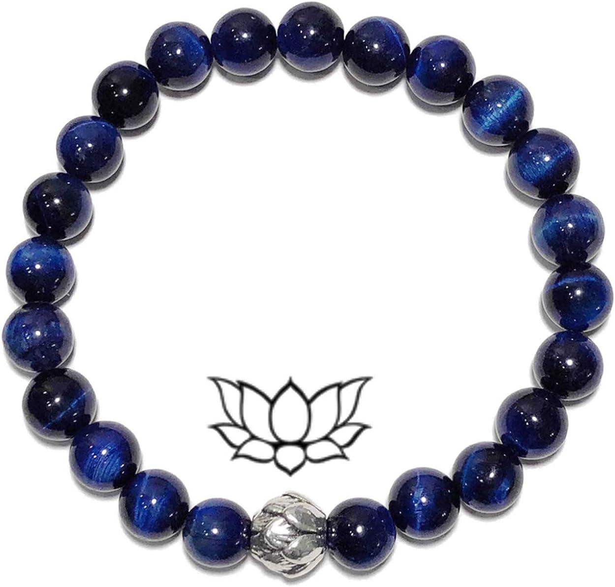 BLUE TIGER EYE | Silver LOTUS Bracelet | PERSEVERANCE | Meditation Self-Care Wellness Wristband | Yoga Bead Mala | Chakra Reiki Energy Zen Jewelry