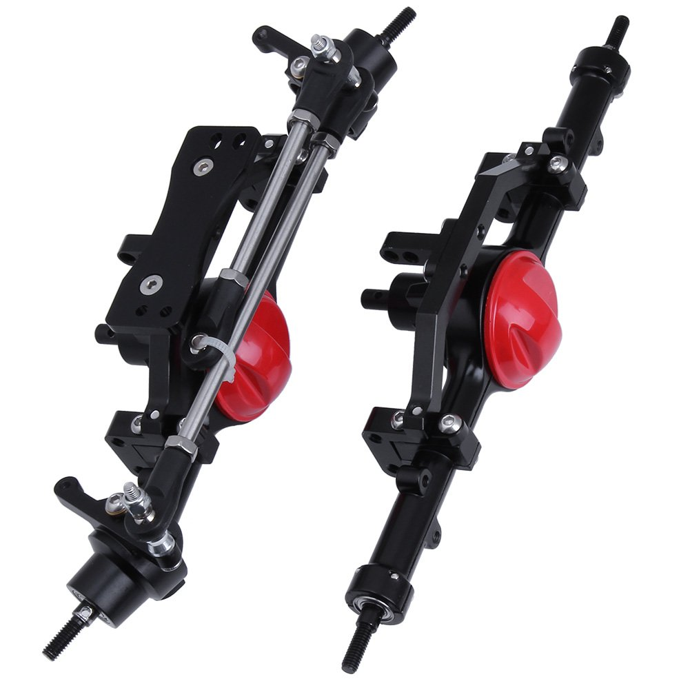 Red Diff Cover HobbyPark Aluminum Alloy Front and Rear Axle Complete Set CNC Machined for RC4WD D90 Yota II RC Rock Crawler Car Replacement