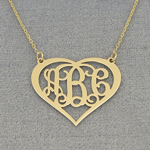 1 inch Solid 10k Gold 3 Initials Fancy Heart Monogram Custom Made Pendant Necklace (Monogram Heart)