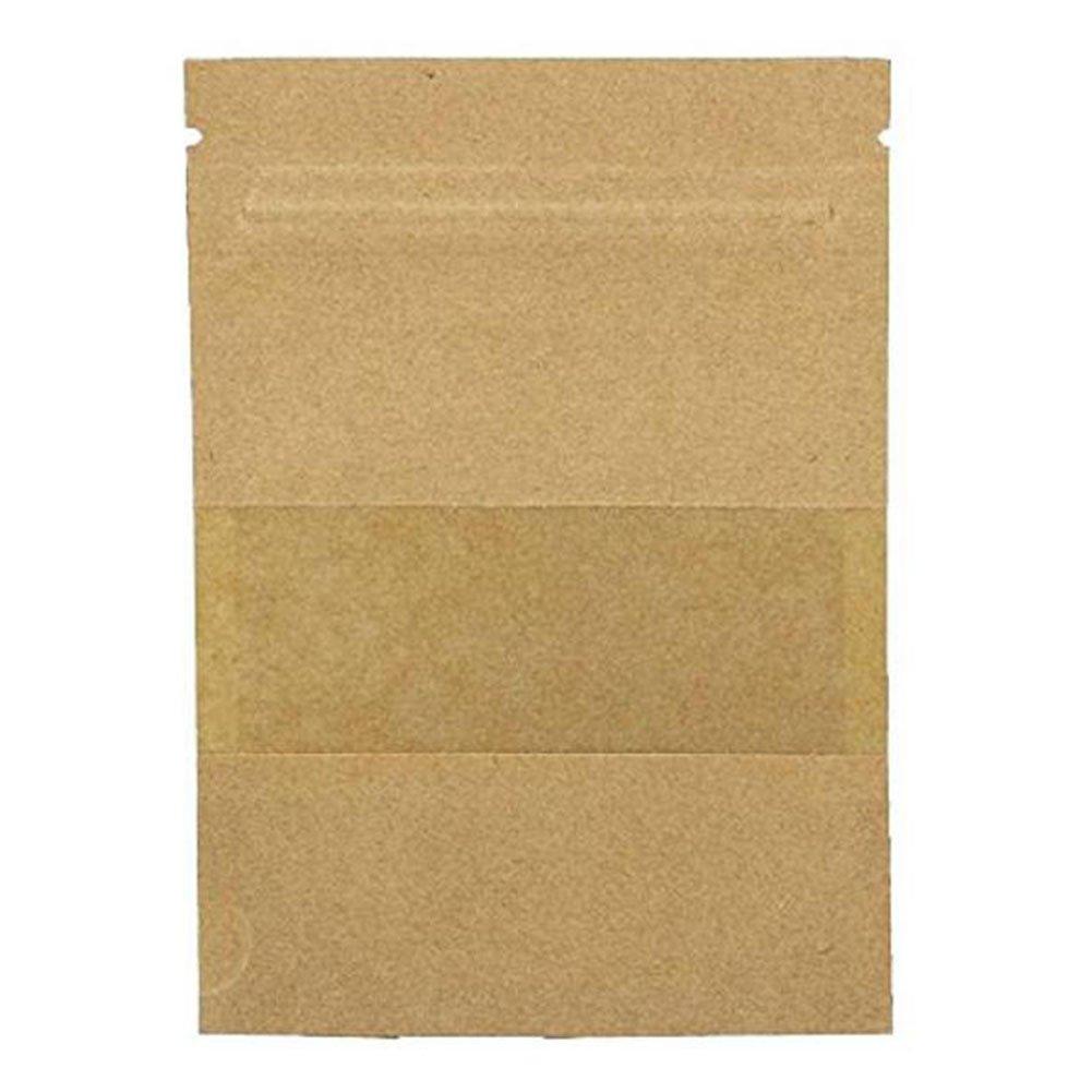 per caff/è t/è e snack 9/×14cm+3cm marrone Sacchetti di carta Kraft con chiusura lampo e finestra Kentop piccoli sacchetti di carta per dolci natalizi 100 pezzi