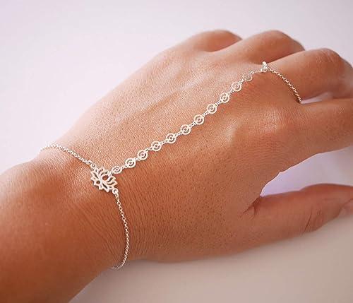 qualité disponible mode la plus désirable Bijoux de main - bracelet argent 925 - Chaîne argent - Bracelet de main -  Bague argent - Fleur de Lotus argent - cadeau femme