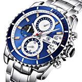 BENYAR Men's Chronograph Quartz Date Stainless Steel Blue Dial Watch#BY-5127M