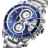 BENYAR Men's Chronograph Quartz Date Stainless Steel Blue Dial Watch#BY-5127M