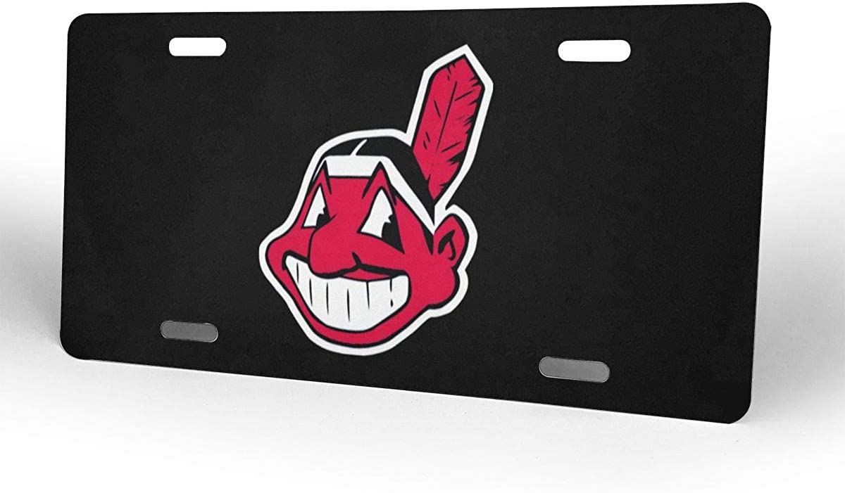 Qq21-achieve-store Chief Wahoo Decorative Car Front License Plate,Vanity Tag,Metal Car Plate,Aluminum Novelty License Plate for Men//Women//Boy//Girls Car,6 X 12