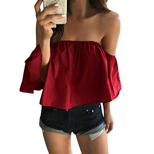 dffd738abb2 Kangma Women Sexy Summer Off Shoulder Casual Shirt Top Tunics Blouse Red at  Amazon Women s Clothing store