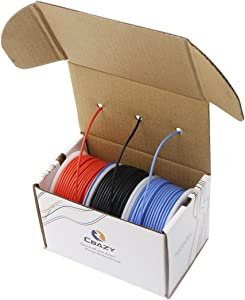CBAZY Hook up Wire (Stranded Wire) 26 Gauge Flexible Silicone Wire 26AWG 33M (108 Feet) Electrical Wire Red+Blue+Black