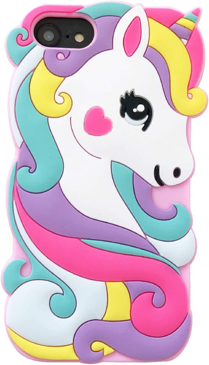 iFunny for iPhone 5/5S Case,for iPhone SE Case,for iPhone 5C Case, Cute 3D Cartoon Animal Rainbow Unicorn Horse Shockproof and Protective Soft Rubber Silicone Phone Cases (Pink)