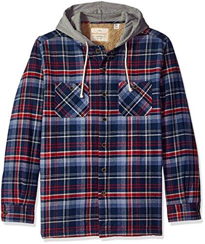Weatherproof Vintage Men's Shirt Jacket with Hood, Dress Blue, Large (Hood Dress)