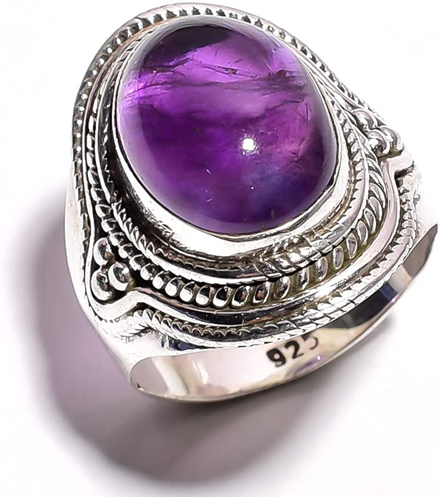 mughal gems & jewellery Anillo de Plata esterlina 925 Anillo de joyería Fina con Piedras Preciosas de Amatista Natural (tamaño 9.25 U.S)