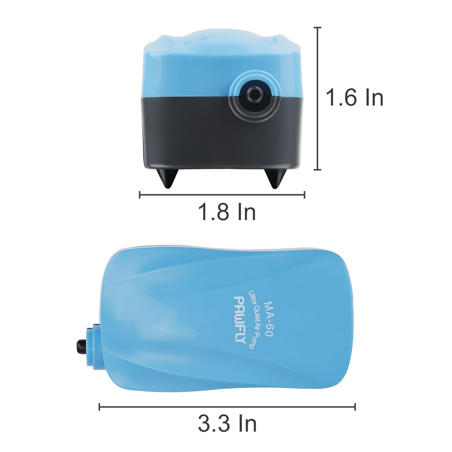 1.8 L//min Pawfly MA-60 Quiet Aquarium Air Pump for 10 Gallon with Accessories Air Stone Check Valve and Tube