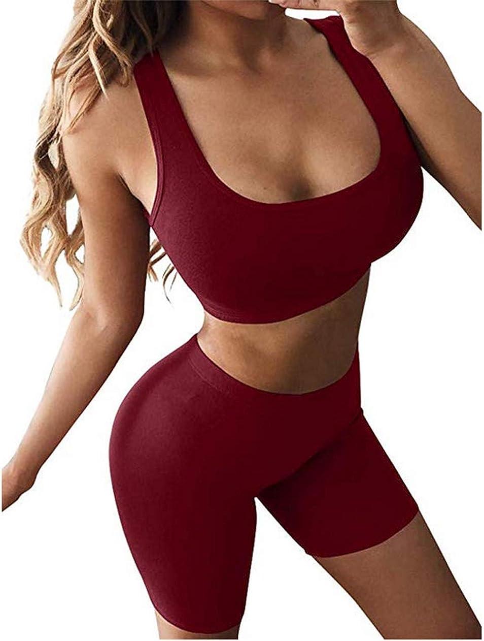 tuta sportiva da donna 2 pezzi maglietta sportiva estiva pantaloni corti senza maniche fitness palestra a casa per yoga