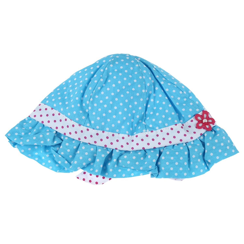 SODIAL(R) Nouveau Capuchon d'ete doux mignon du motif des points ondules pour bebes enfants bleu