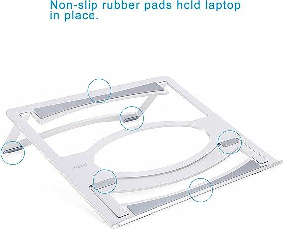 MOSISO Staffa Regolabile Supporto Compatibile iPad PRO//MacBook Air//PRO//Notebook Scrivania Porta di Raffreddamento/&Pieghevole Doppio Angolo,Argento in Alluminio Lega Fino a 17,3-19 Pollici