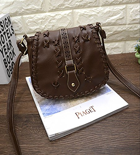 1 Women's Shoulder PU Purse Hobo Brown with Lacing Cute Bag Sanddle Bag Crossbody Hollow OAOgU