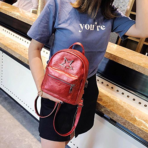 Small Daypack Mini Backpacks Cute Everpert Star Leather Handbags Travel Women Casual Girl Red Shoulder ZdqwnU5