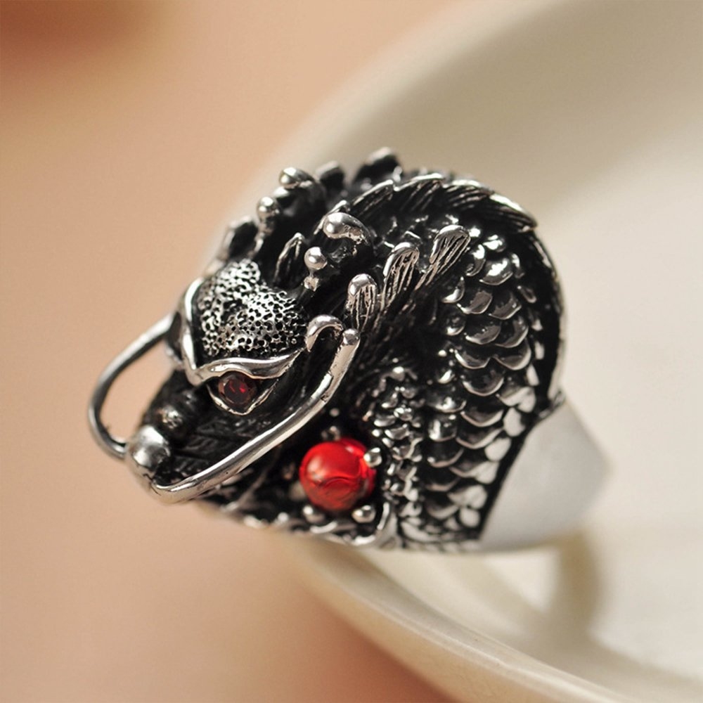 MetJakt Vintage 925 Sterling Silver Domineering Dragon Ring with Ruby Punk Rock Rings for Men's Fine Jewelry (12) by MetJakt (Image #4)