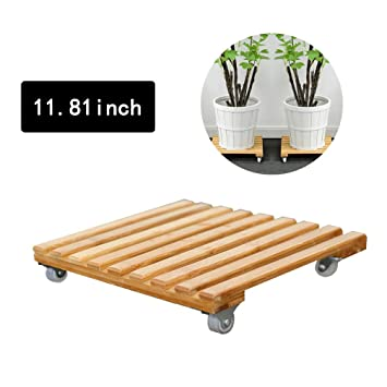 Amazon Com Gorgebuy Wooden Plant Caddy Potted Plant Stand With