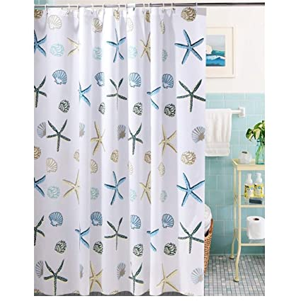 Amazon BeGrit Starfish Seashell Beach Style Shower Curtain