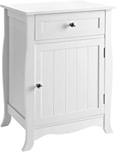 SONGMICS White Nightstand, End Table with Storage Cabinet and Drawer, Wooden Bedside Table, Large Capacity, Easy to Assemble ULET02WT