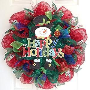 Happy Holidays Snowman Handmade Deco Mesh Wreath 13