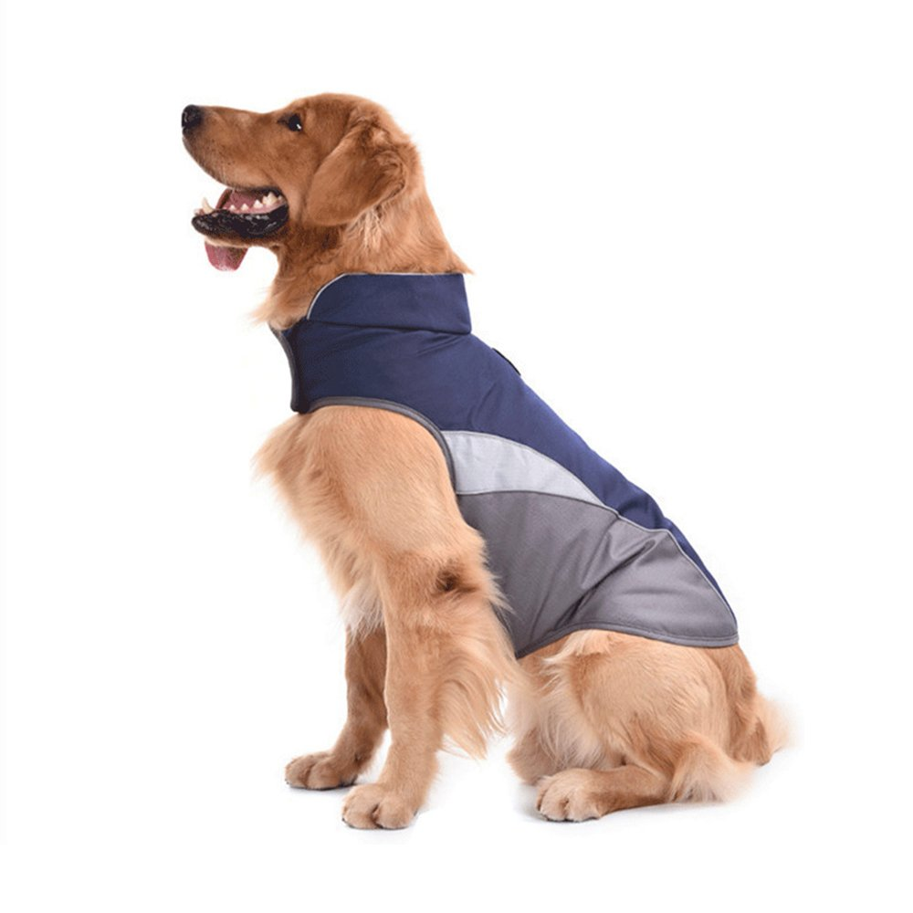 SILD Pet Clothes Dog Winter Warm Jacket Dog Cold Weather Coat Dog Autumn Windproof Night Reflective Fleece Vest (XXL, Blue)