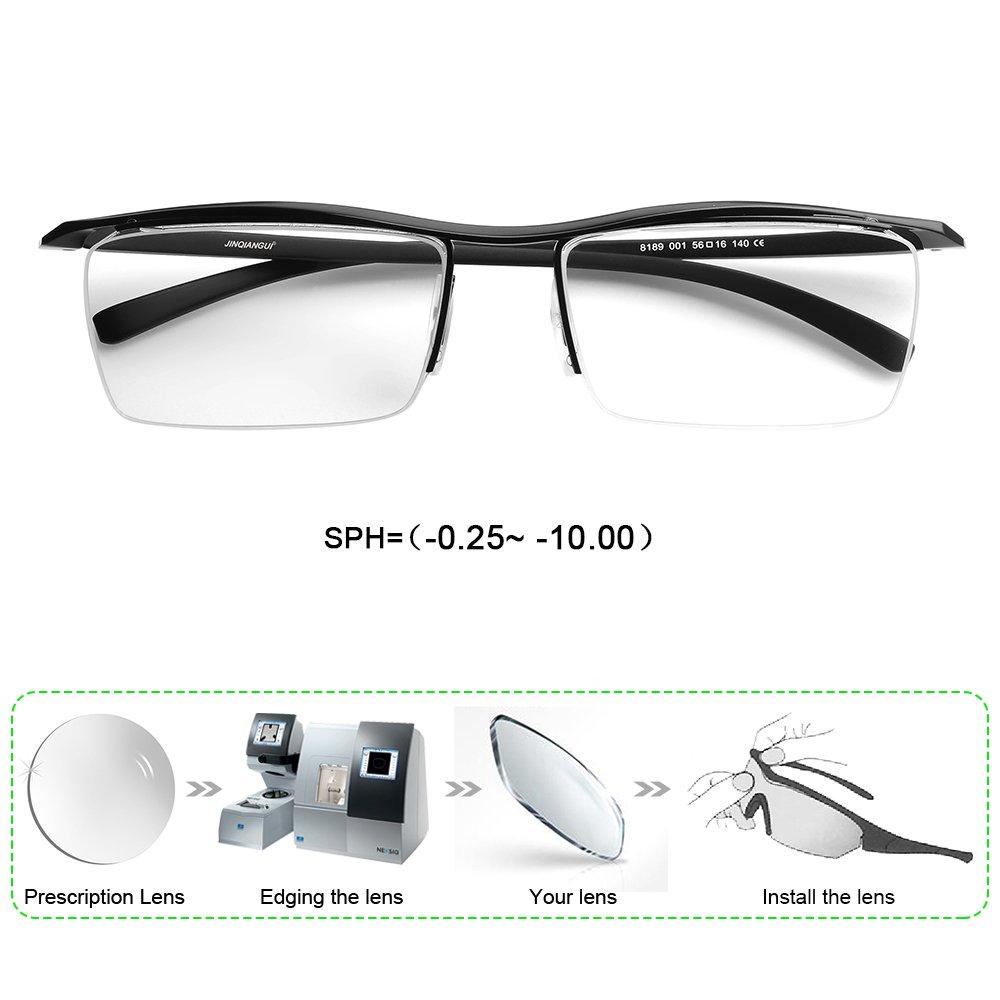 b749f7176c6c2 Amazon.com  Customize Prescription Glasses Men Myopia Astigmatism Semi  Rimless Rectangle Frame PC Lenses -0.25-10.00  Health   Personal Care