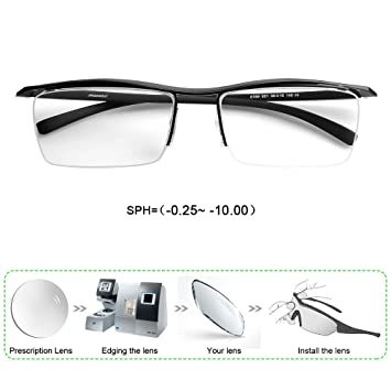 654b1e1821 Customize Prescription Glasses Men Myopia Astigmatism Semi Rimless  Rectangle Frame PC Lenses -0.25-10.00