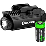 Olight PL1 II Valkyrie 450 lumen LED pistol light with EdisonBright CR123A lithium battery bundle
