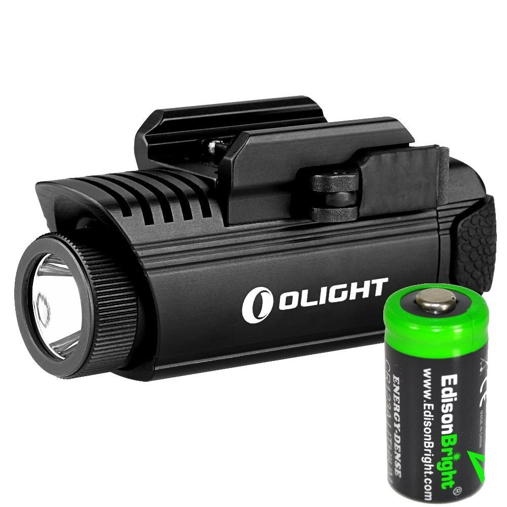 EdisonBright Olight PL1 II Valkyrie 450 lumen LED pistol light with CR123A lithium battery bundle