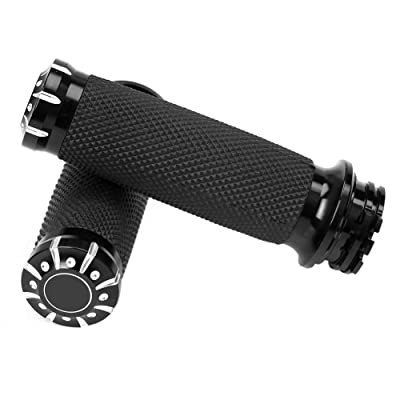 "WINALL 1"" Black CNC Hand Grips Motorcycle Bar Grips for Harley Touring Dyna Softail: Automotive"