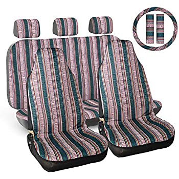 INFANZIA Full Set Seat Covers for Cars with Steering Wheel Cover /& Seat Belt Pads Universal Fit Most Car Truck Green 10PCS SUV or Van