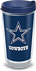 Tervis 1323178 NFL Dallas Cowboys - Touchdown Insulated Tumbler with Wrap and Navy Blue Travel Lid, 16 oz - Tritan, Clear
