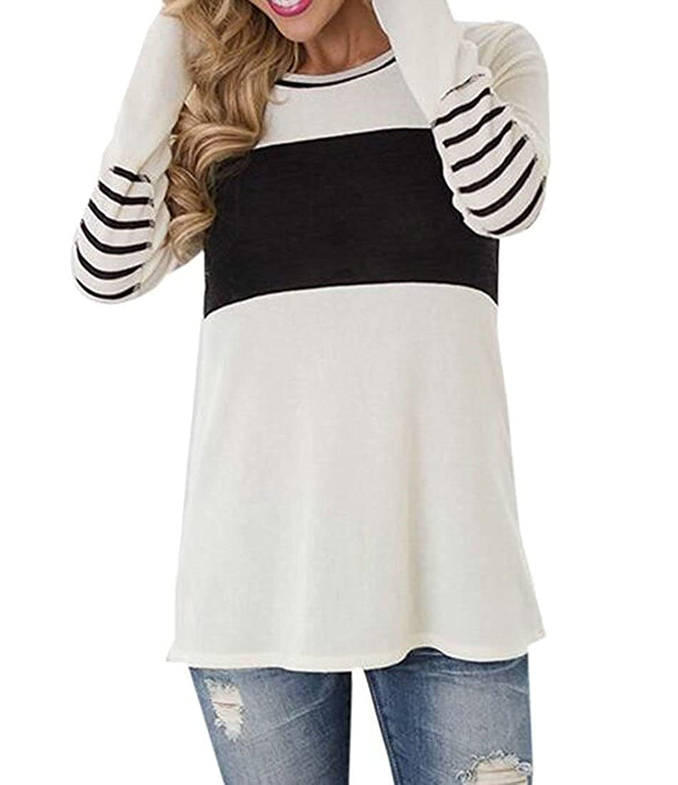 Oberora-Women Tops Casual Long Sleeve Cotton Color Block Striped T Shirt Tunic Blouse