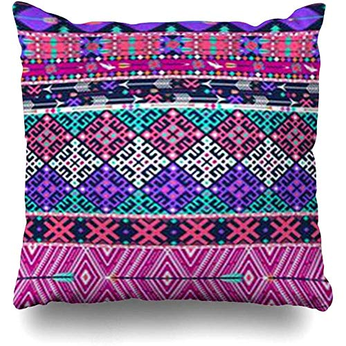 Throw Pillow Case Mexican Geometric Tribal Aztec Pattern Birds Flowers Striped Abstract Pink Navajo Hipster Mexico Decor Cushion Cover Home Sofa Square Size 18 x 18 Inches Pillowcases