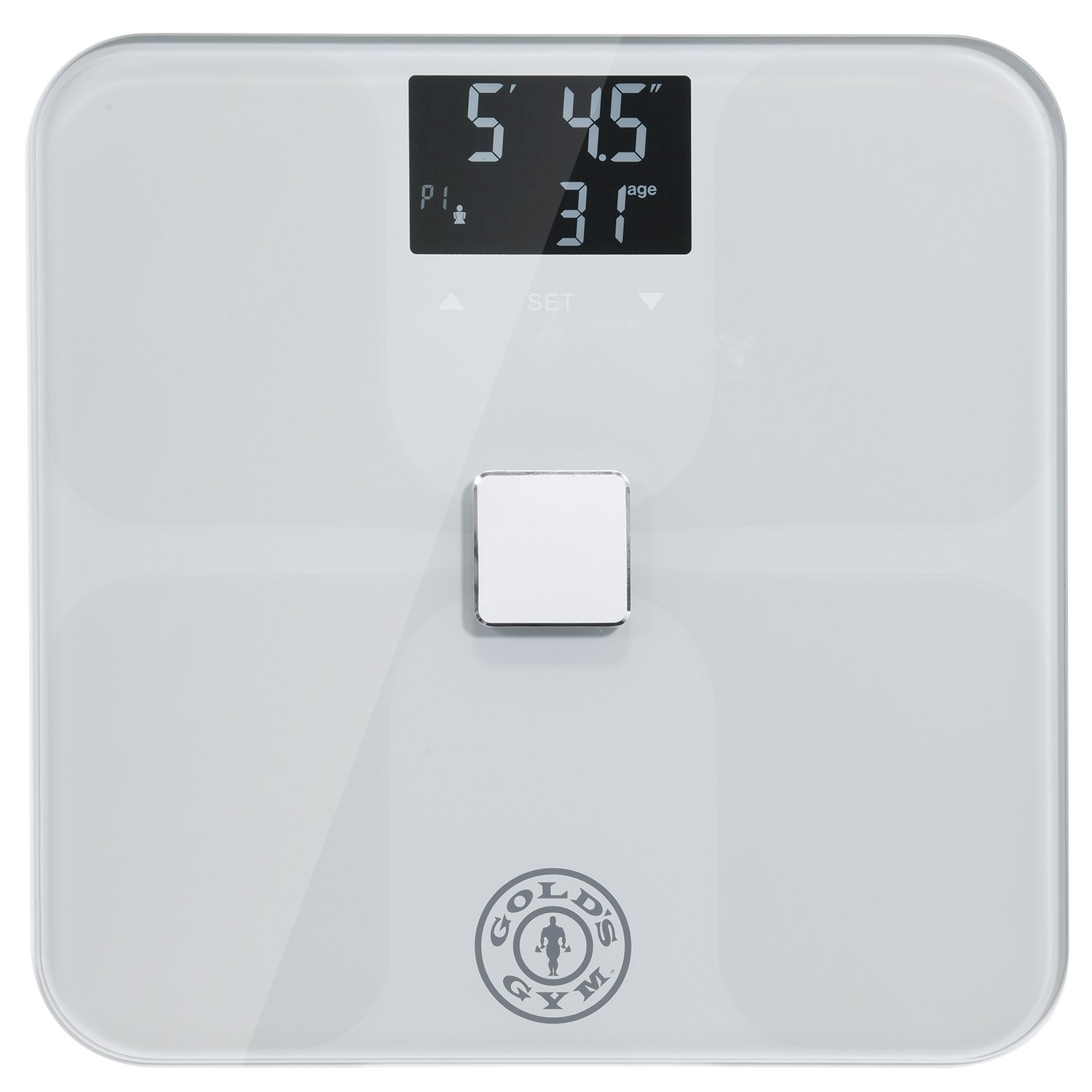 Gold's Gym Smart Biometric Digital Body Composition Fitness Bathroom Scale Measures Weight, BMI, Body Fat, Water and Muscle Mass, Kcal/BMR, Bone Mass - Auto Memory for Up to 9 Users - Silver