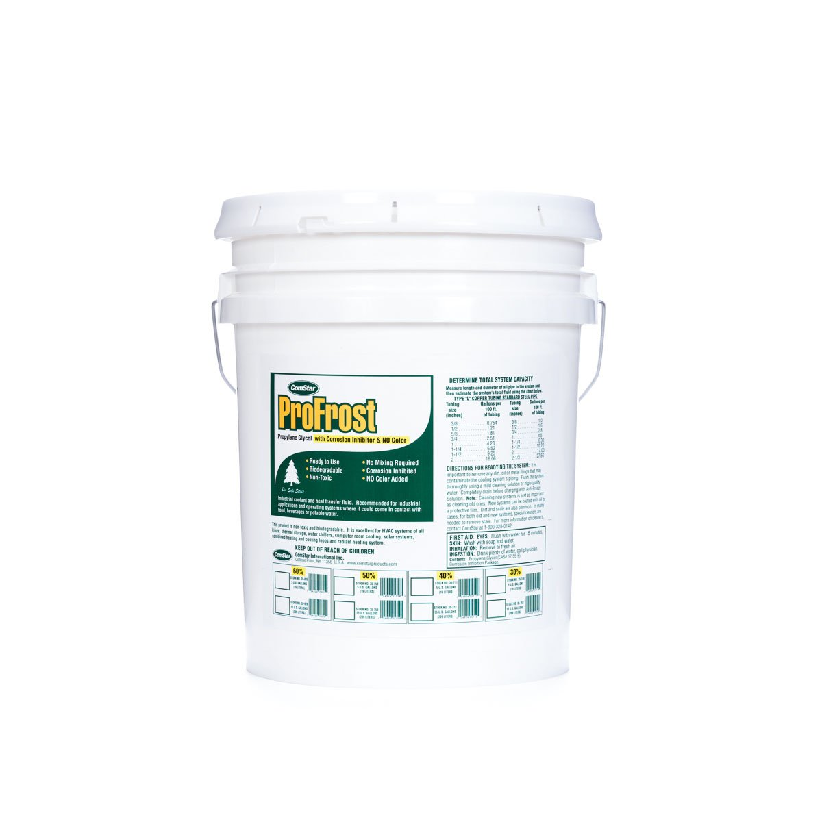 ComStar 35-749 ProFrost Chiller/Anti Freeze/Heat Transfer Fluid with Corrosion Inhibitor and NO Color, 30% Solution Ratio, 5 gal Pail, Clear