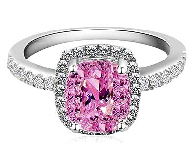 dc8b889c8 Ring 18k White Gold Gp Pink Austria Swarovski Crystal Lady Bridal Wedding  Engagement R24c Prom(