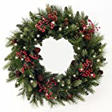 Cordless LED Pre-lit Cone & Berry Christmas Wreath (Small Image)