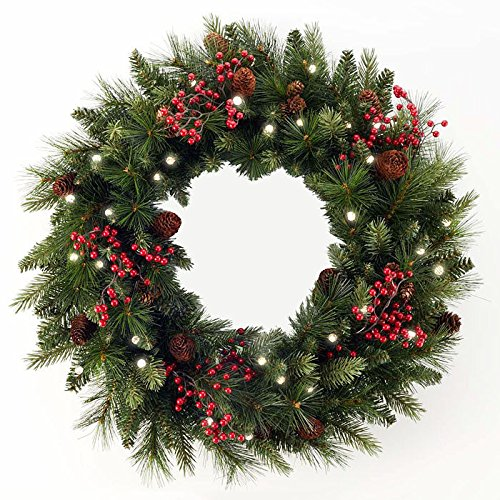 Indoor/Outdoor Cordless LED Christmas Wreath