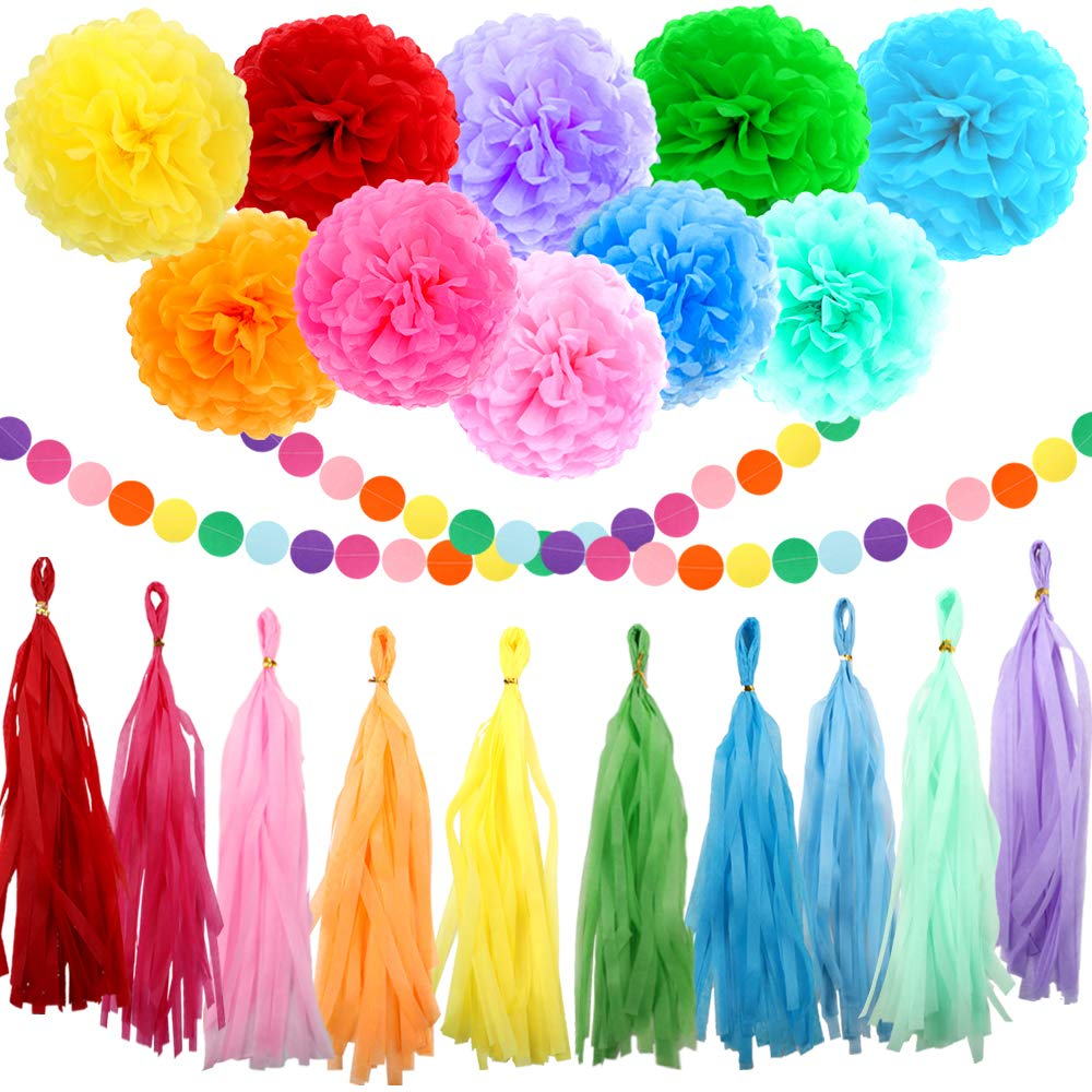 ZJHAI 61pcs Rainbow Party Decoration Tissue Paper Pom Poms, Tassel Garland and Circle Dots Hanging Decorations by ZJHAI