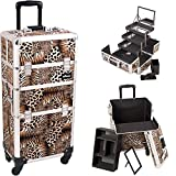 Sunrise Leopard 4-Wheels Professional Rolling Aluminum Cosmetic Makeup Craft Storage Organizer Case and 3-Tiers Extendable Trays with Mirror and Brush Holder