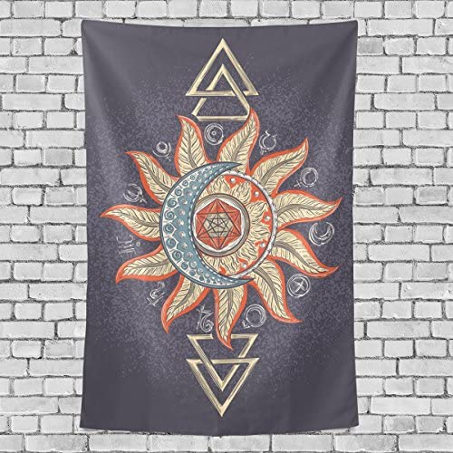 ALAZA Hand Drawn Mystery Alchemy Symbols Moon and Sun Polyester House Tapestries Room D cor 60×90 Inch Style Decorative Wall Blanket