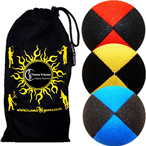 3x Pro Thud Juggling Balls - Deluxe (SUEDE) Professional Juggling Ball Set of 3 with ''Kid-Jo Learn To Juggle'' DVD, and Fabric Travel Bag! (Black-Blue/Yellow/Red)
