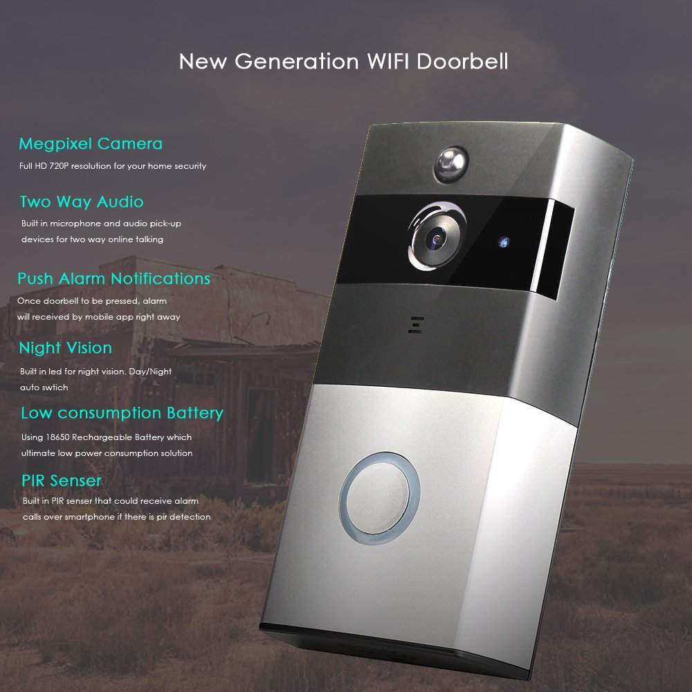 VOLIBEL Wireless Video Wi-Fi Doorbell With 8G SD Card Storage HD Smart Security Camera Real-Time Video and Two-Way Talk Infrared Night Vision App Control for iPhone iOS and Android