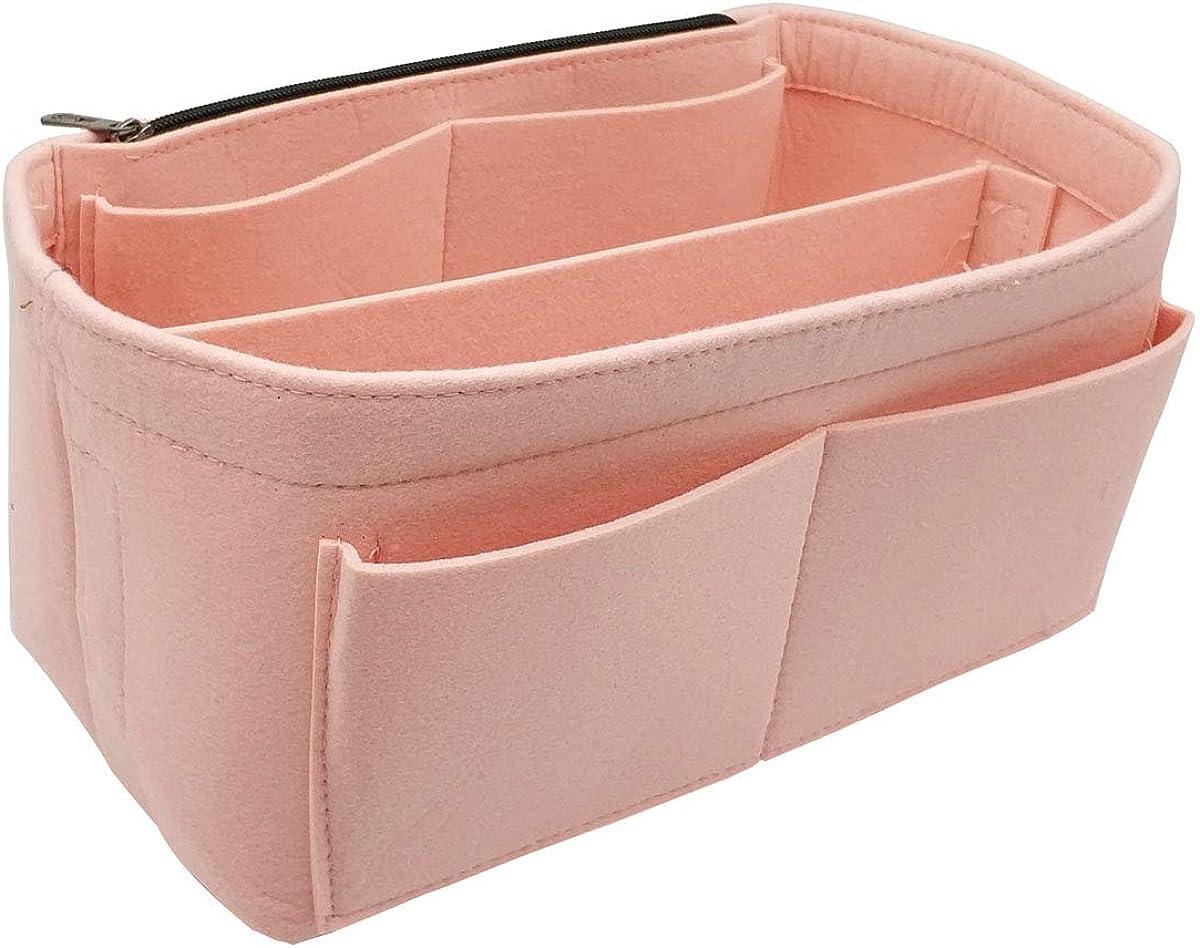 Felt Purse Organizer Insert Bag In Bag with Big Side Zipper Pocket Fit Speedy Neverfull