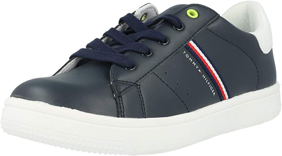Tommy Hilfiger Trainer White//Blue Eco Leather Infant Trainers Shoes