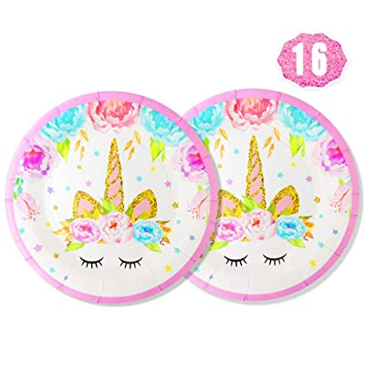 "Premium Unicorn Party Plates Set, 16 pcs 7"" Disposable Paper Plates for Unicorn Party Favors, Baby Shower, Kids First Birthday: Home & Kitchen"