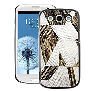 A-type Arte & diseño plástico duro Fundas Cover Cubre Hard Case Cover para Samsung Galaxy S3 (Lines Pattern Gold White)